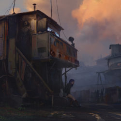 Sunset in slums.